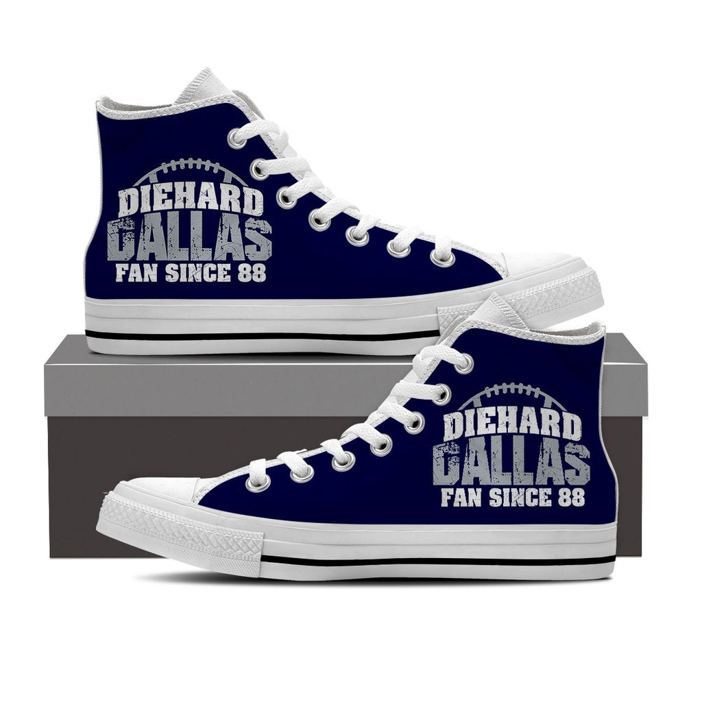Die Hard Dallas Football Men's High Top Shoes for Fans Born in 1988