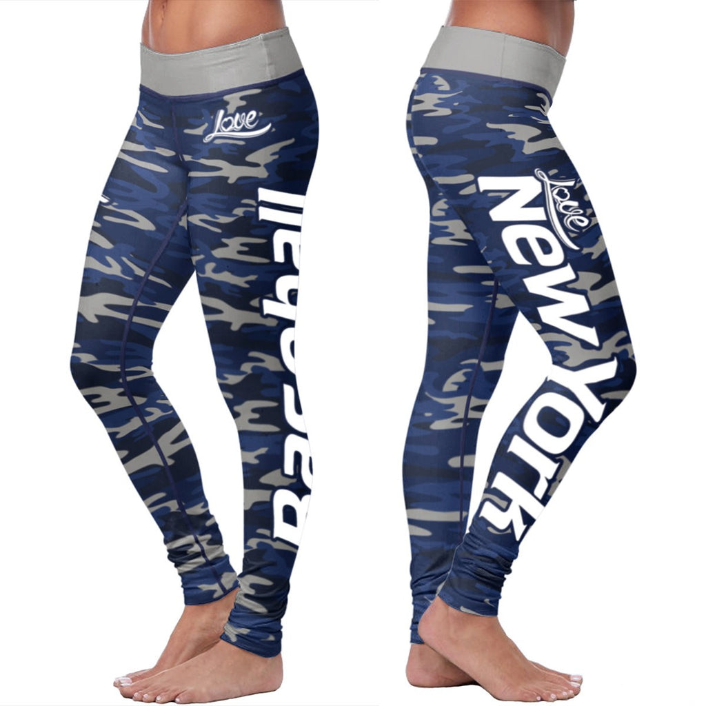 Love New York Baseball Leggings in Print All Over Camo Design