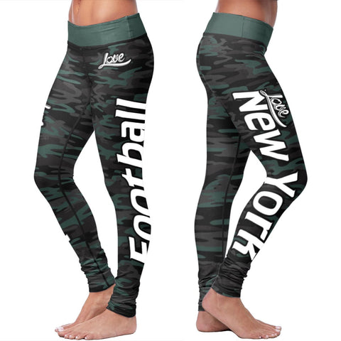 Love New York Football Leggings in Print All Over Camo Design
