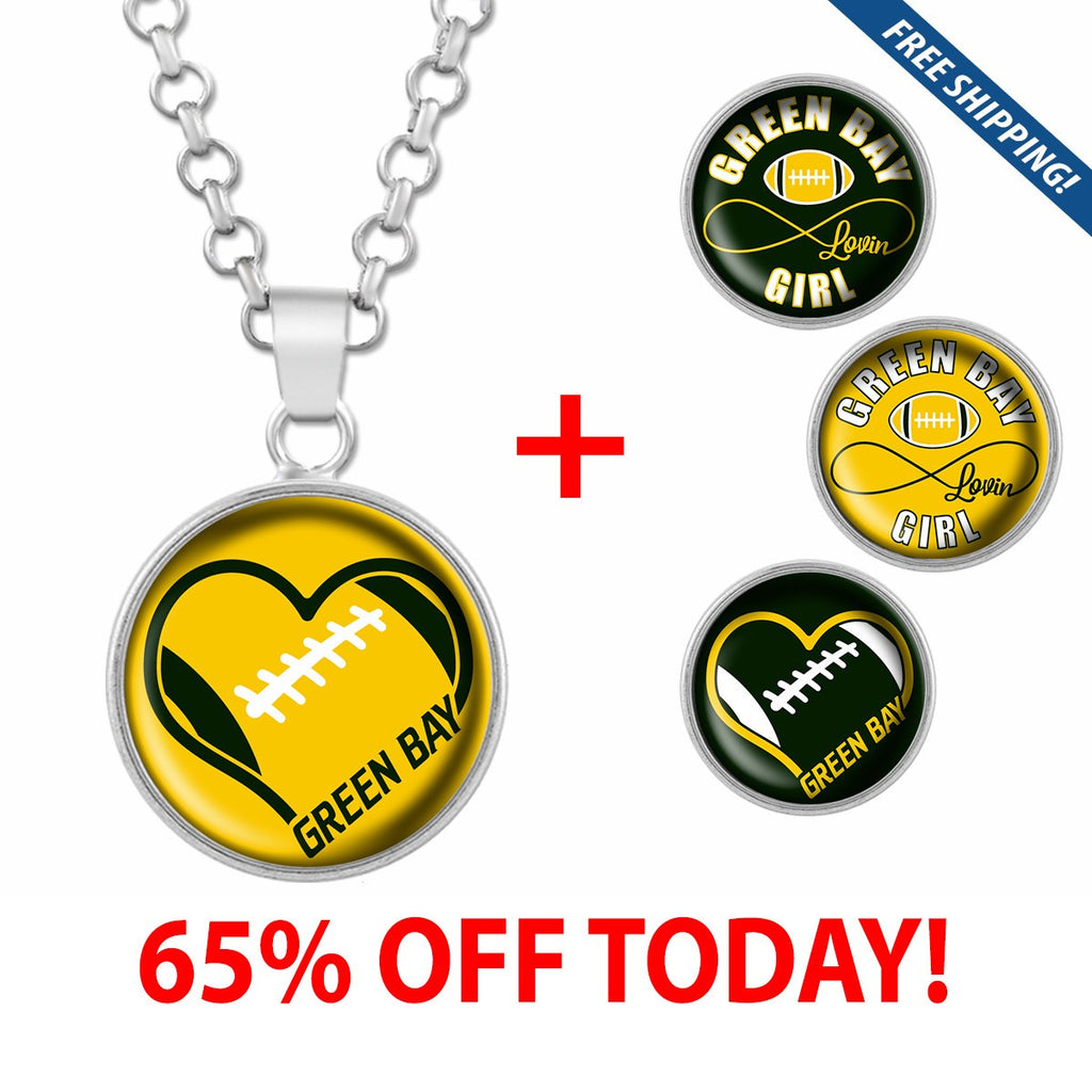 I Love Green Bay Football Stainless Steel Necklace with Interchangeable Snap Charms - Yellow