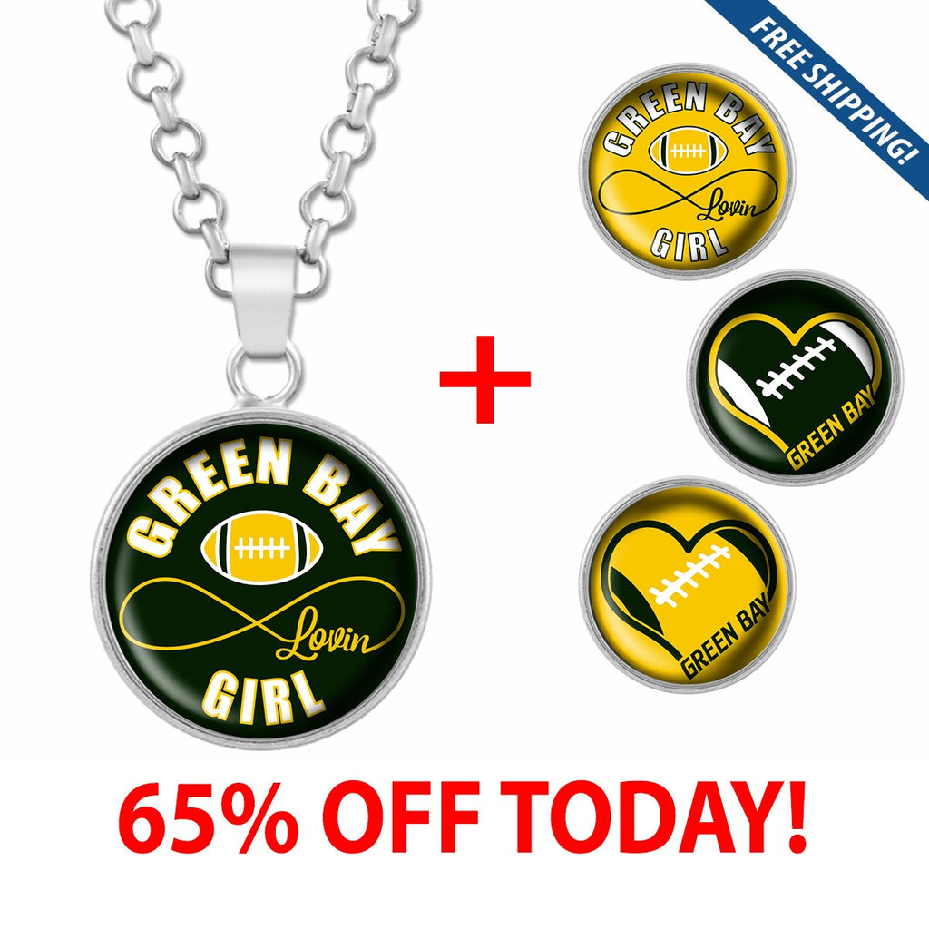 Green Bay Lovin Girl Football Stainless Steel Necklace with Interchangeable Snap Charms - Green