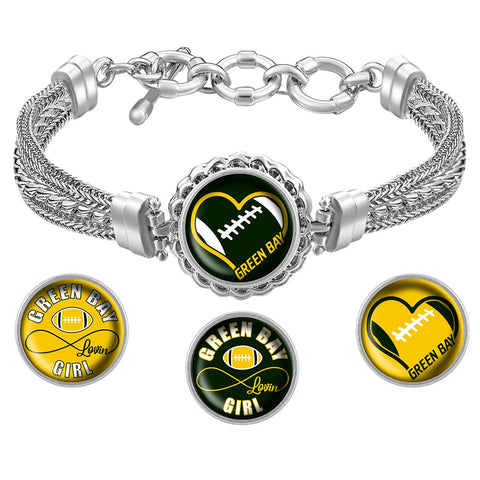 I Love Green Bay Football Metal Bracelet with Interchangeable Snap Charms - Green