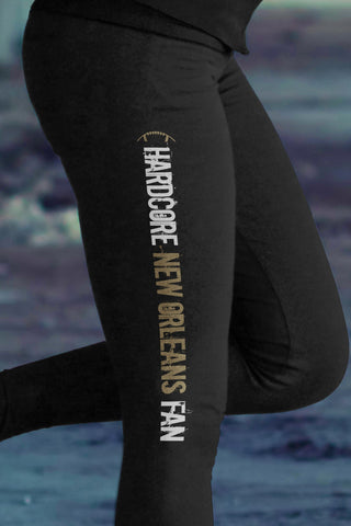 Love New Orleans Football Leggings in Print All Over Striped Design