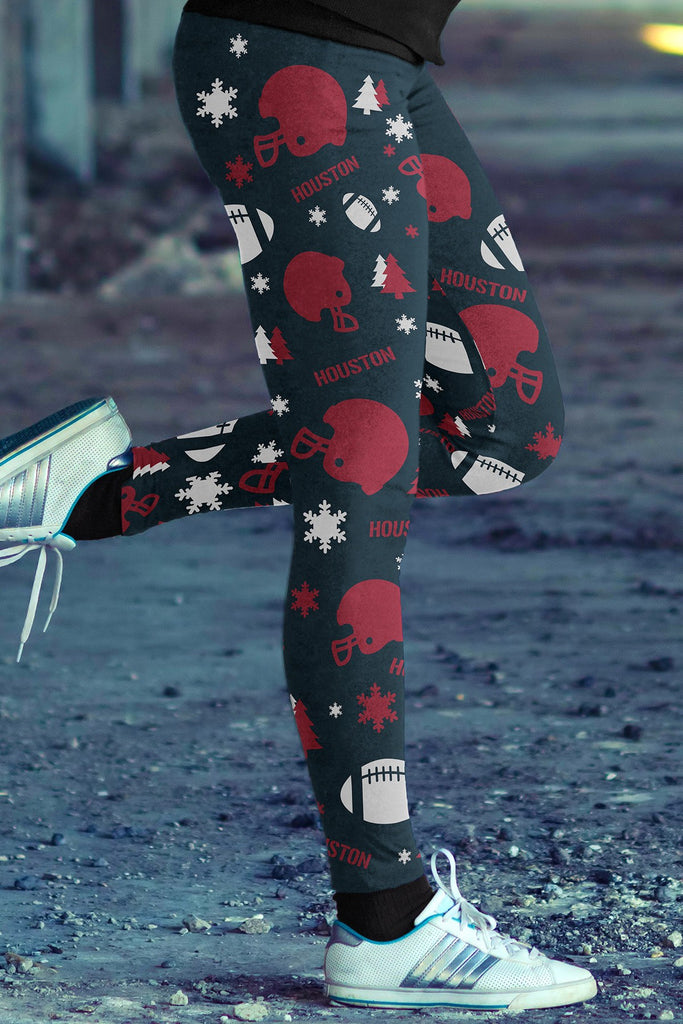 Houston Football Ugly Christmas Leggings in Print All Over Random Design