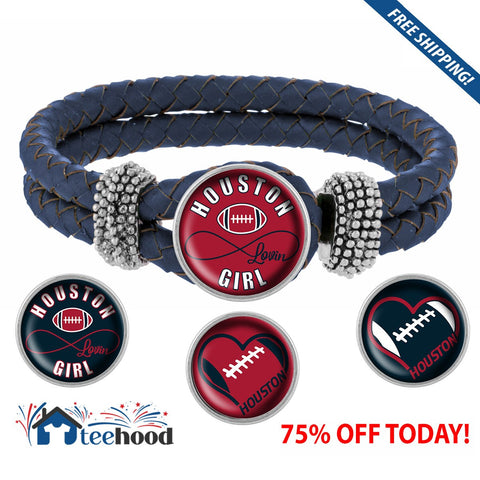 Snap Charm Interchangeable Jewelry Houston Lovin Football Metal Bracelet - Navy