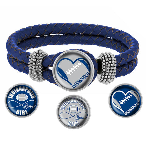 I Love Indianapolis Football Bracelet with Interchangeable Snap Charms - Royal