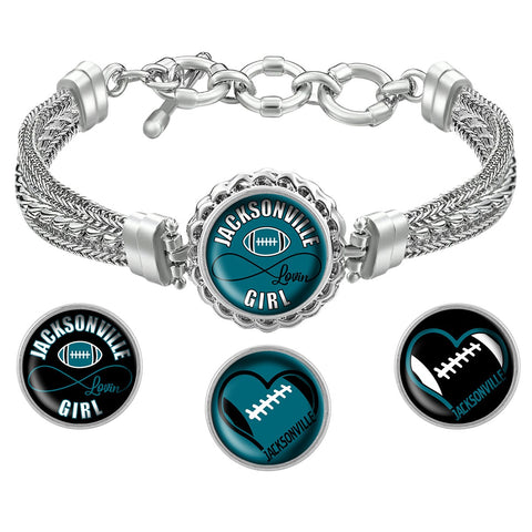 Jacksonville Lovin Girl Football Bracelet with Interchangeable Snap Charms - Blue
