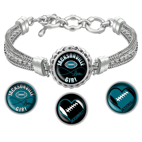 Snap Charm Interchangeable Jewelry Heart Jacksonville Football Metal Bracelet - Black