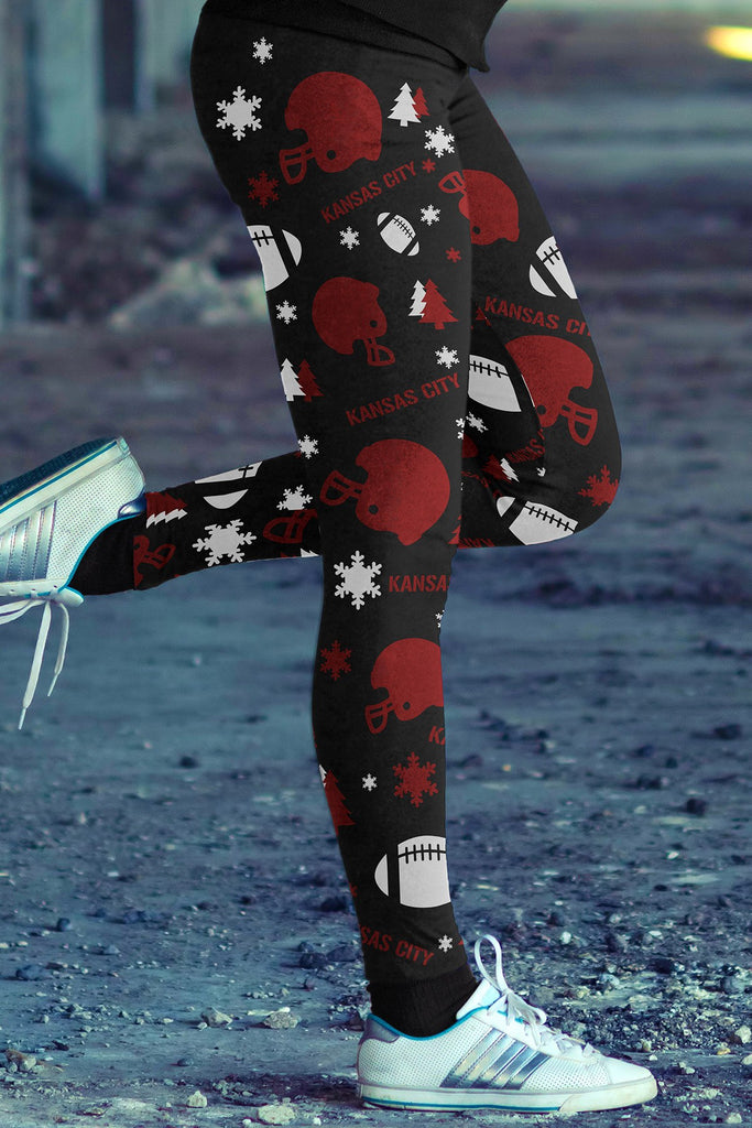 Kansas City Football Ugly Christmas Leggings in Print All Over Random Design