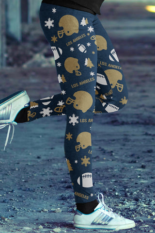 Los Angeles Football Ugly Christmas Leggings in Print All Over Classic Design