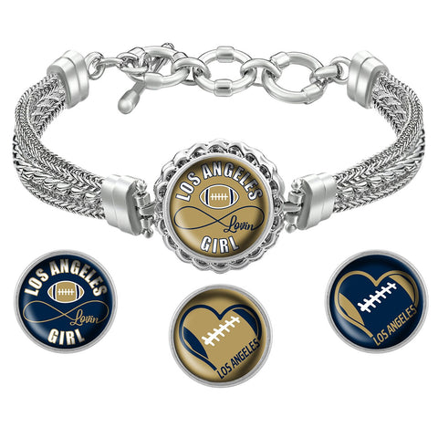 I Love Los Angeles Football Bracelet with Interchangeable Snap Charms - Navy