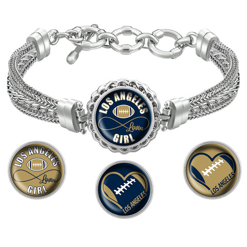 Snap Charm Interchangeable Jewelry Los Angeles Lovin Football Metal Bracelet - Navy