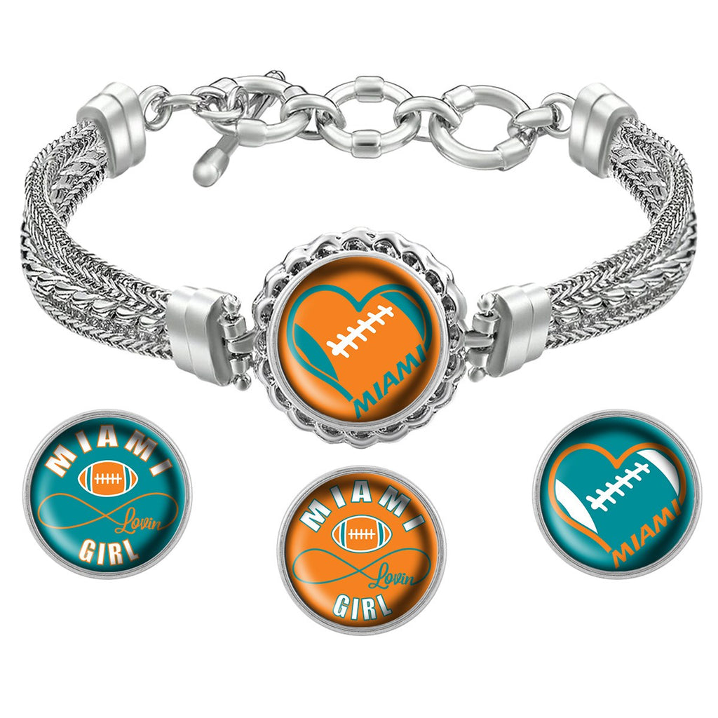 Snap Charm Interchangeable Jewelry Miami Heart Football Metal Bracelet - Orange