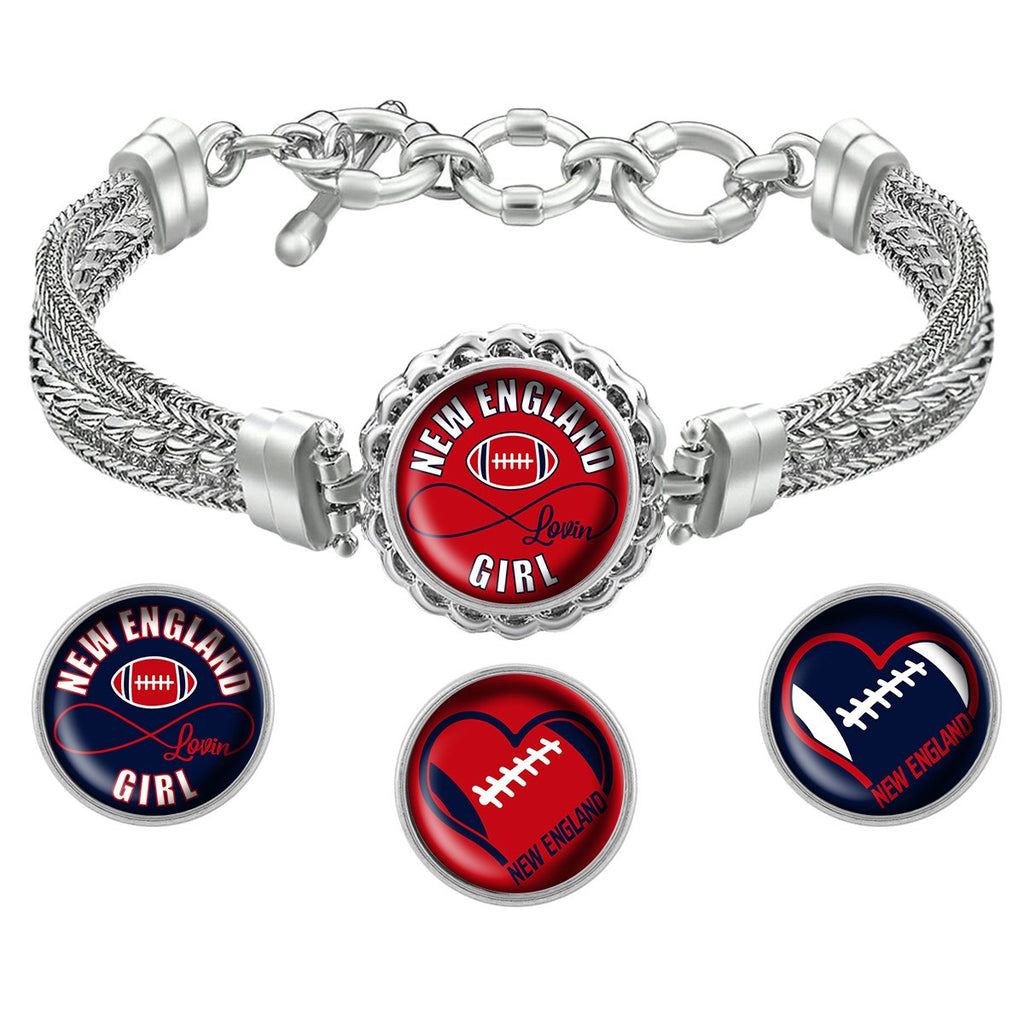New England Lovin Girl Football Metal Bracelet with Interchangeable Snap Charms