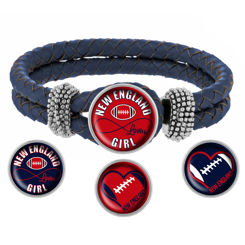 New England Lovin Girl Football Bracelet with Interchangeable Snap Charms - Red