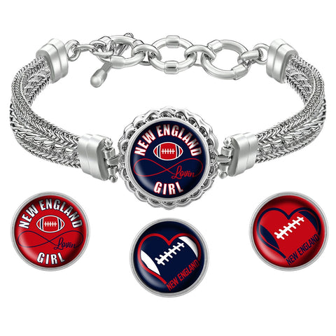 I Love New England Football Bracelet with Interchangeable Snap Charms - Navy