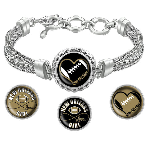 Snap Charm Interchangeable Jewelry Heart New Orleans Football Metal Bracelet