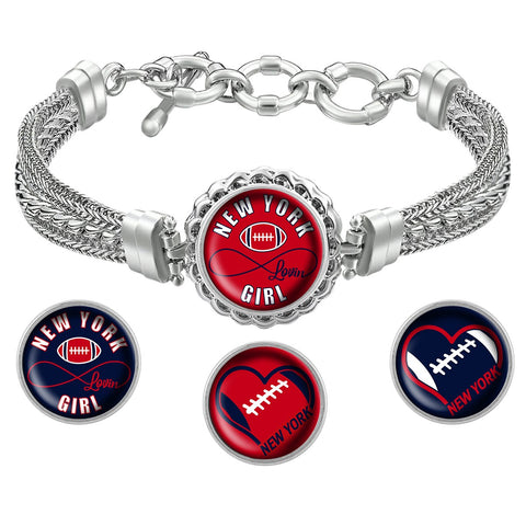 I Love New York Football Bracelet with Interchangeable Snap Charms - Red