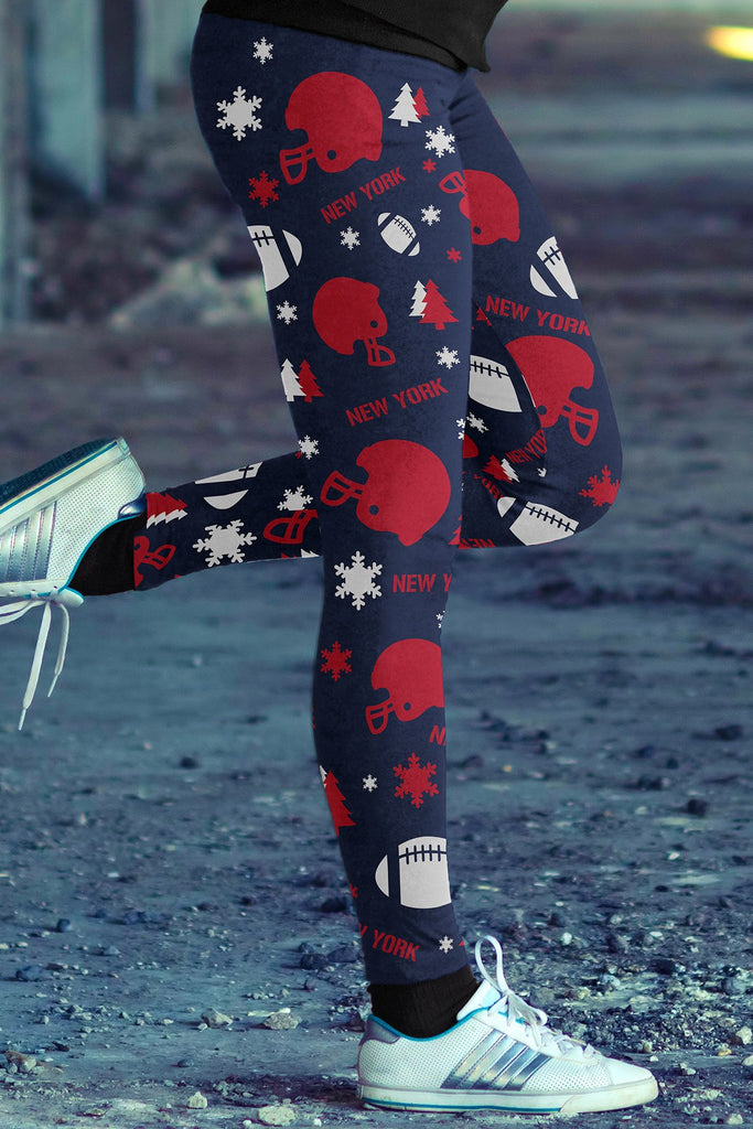 New York Football Ugly Christmas Leggings in Print All Over Random Design Red