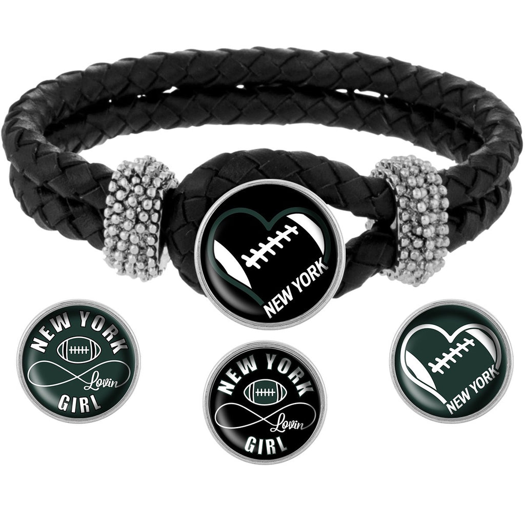 I Love New York Football Bracelet with Interchangeable Snap Charms - Black