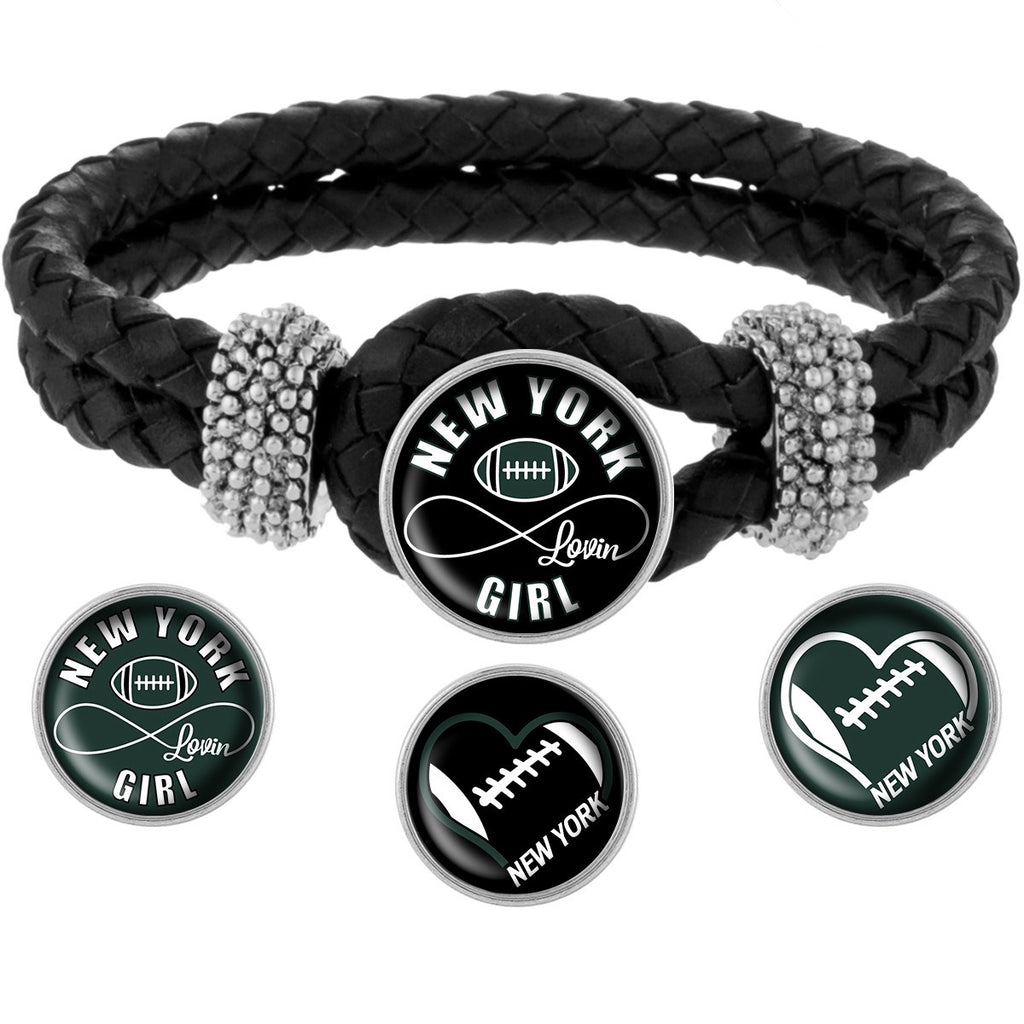 New York Lovin Girl Football Bracelet with Interchangeable Snap Charms - Black