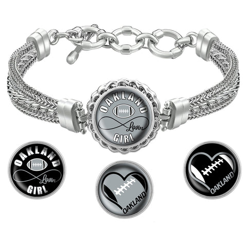 I Love Oakland Football Bracelet with Interchangeable Snap Charms - Gray
