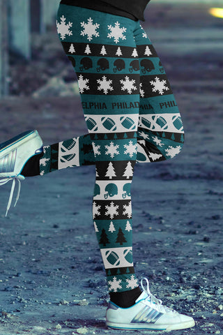 Philadelphia Football Ugly Christmas Leggings in Print All Over Classic Design