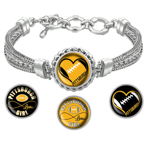 Pittsburgh Lovin Girl Football Metal Bracelet with Interchangeable Snap Charms - Black