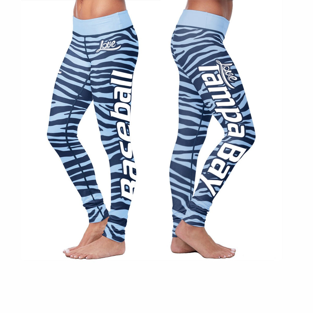 Love Tampa Bay Baseball Print All Over Leggings in Striped Design