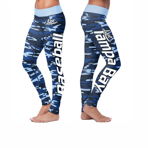 Love Tampa Bay Baseball Print All Over Leggings in Camo Design