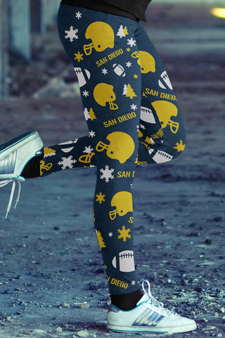 San Diego Football Ugly Christmas Leggings in Print All Over Classic Design