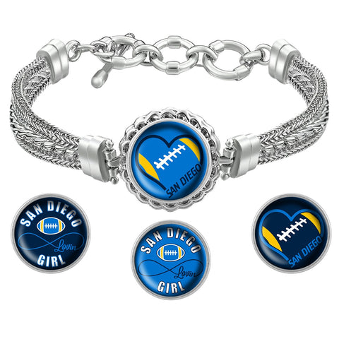 Snap Charm Interchangeable Jewelry Heart San Diego Football Metal Bracelet - Navy