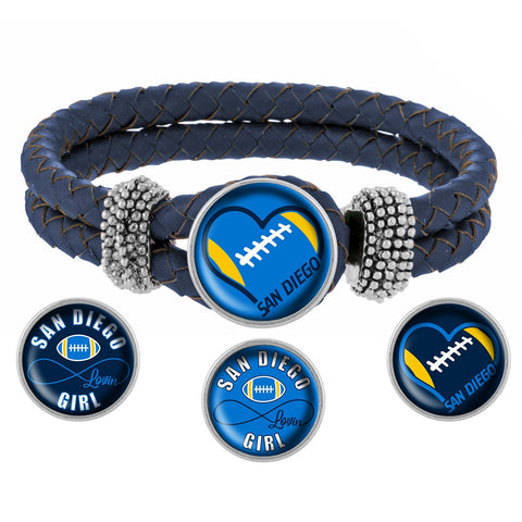 Snap Charm Interchangeable Jewelry San Diego Lovin Football Metal Bracelet