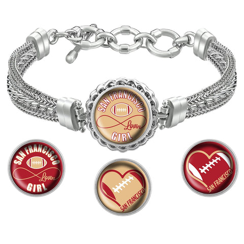I Love San Francisco Football Bracelet with Interchangeable Snap Charms - Red