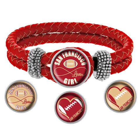 Snap Charm Interchangeable Jewelry San Francisco Lovin Football Metal Bracelet