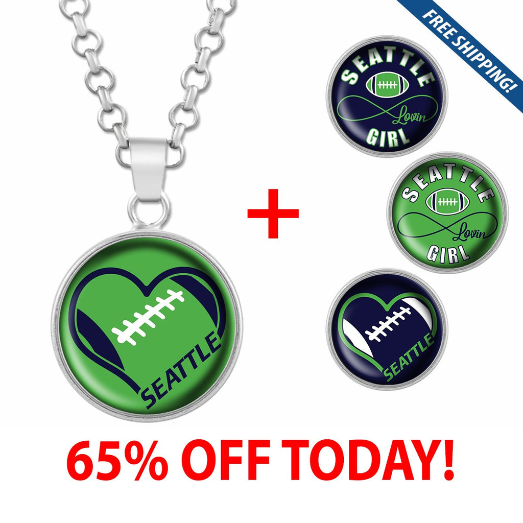 I Love Seattle Football Stainless Steel Necklace with Interchangeable Snap Charms - Green
