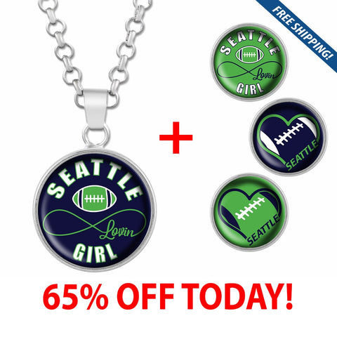 Seattle Lovin Girl Football Stainless Steel Necklace with Interchangeable Snap Charms - Navy