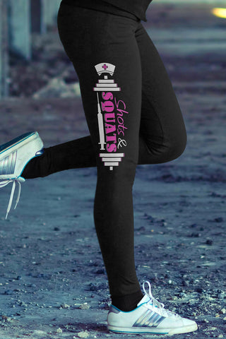 Love Nursing Nurse Leggings in Print All Over Design Pink Color