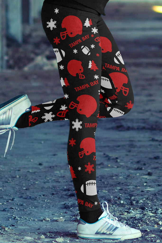 Tampa Bay Football Ugly Christmas Leggings in Print All Over Random Design