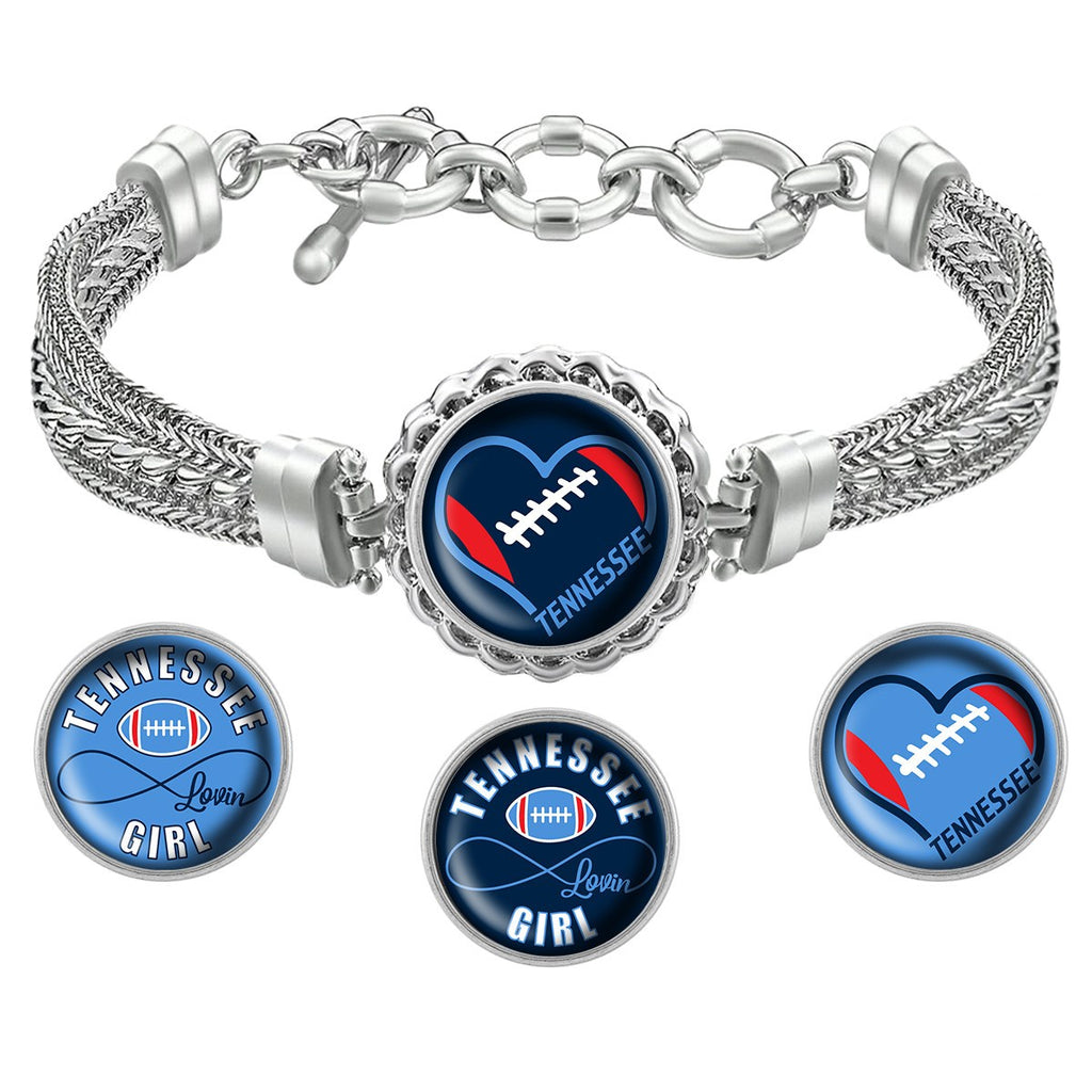 Snap Charm Interchangeable Jewelry Heart Tennessee Football Metal Bracelet - Navy