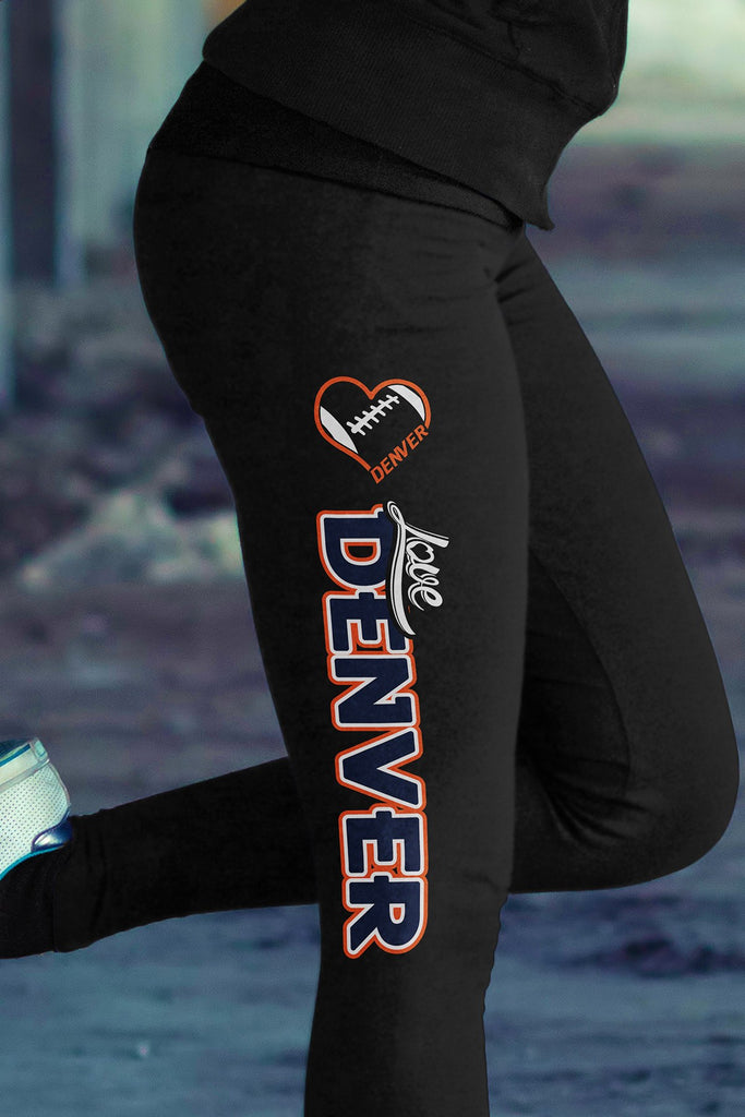 Love Denver Football Cotton Leggings