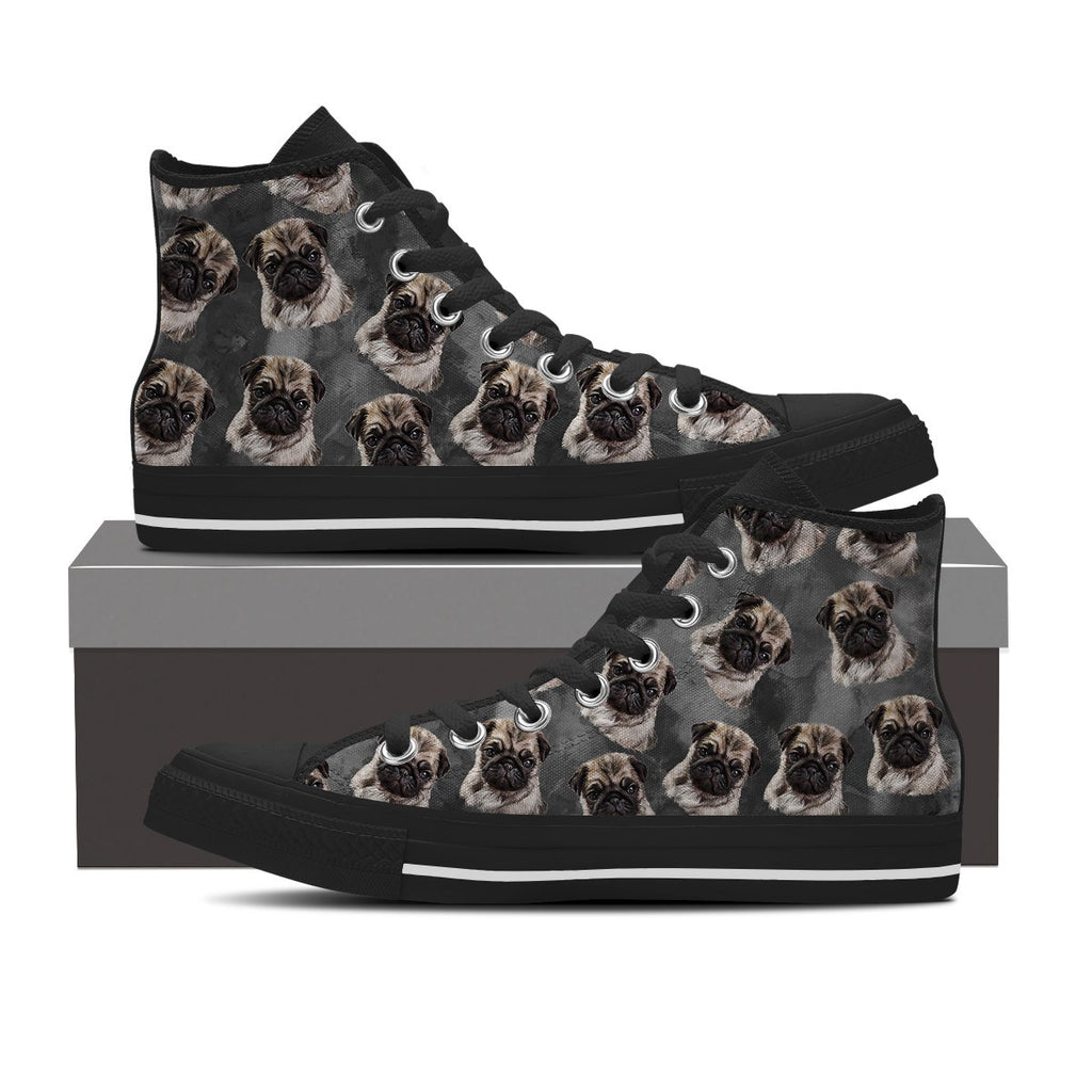 Charcoal Pug Men's High Top Shoes