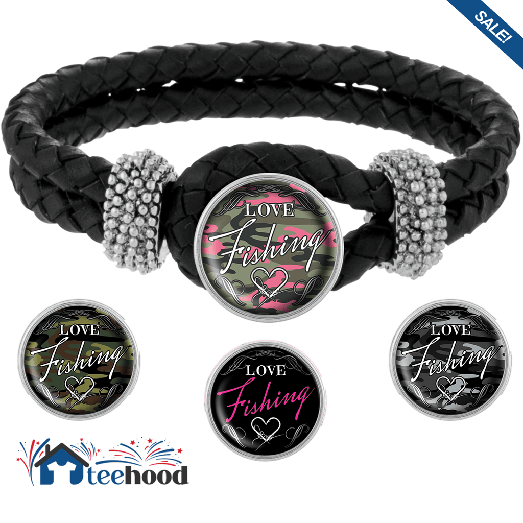 Love Fishing Bracelet with Interchangeable Snap Charms - Black