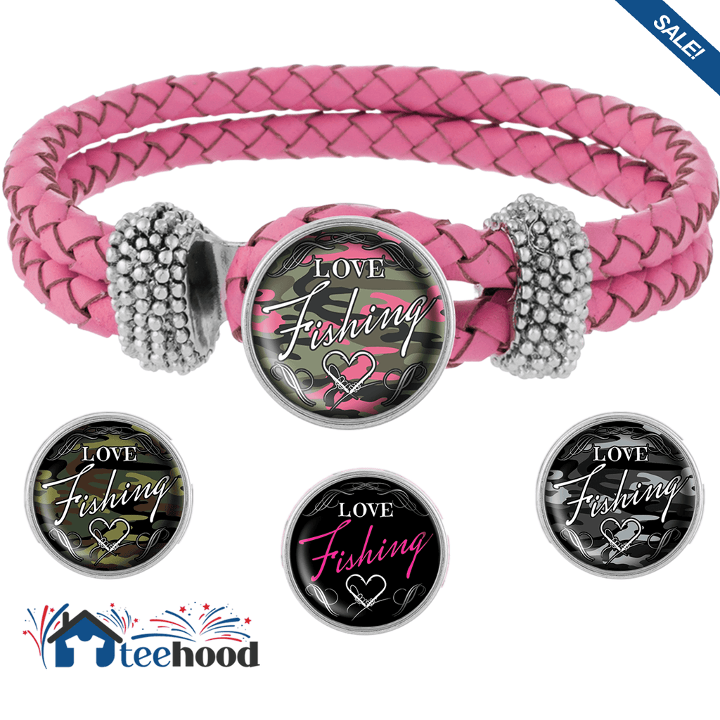 Love Fishing Bracelet with Interchangeable Snap Charms - Camo
