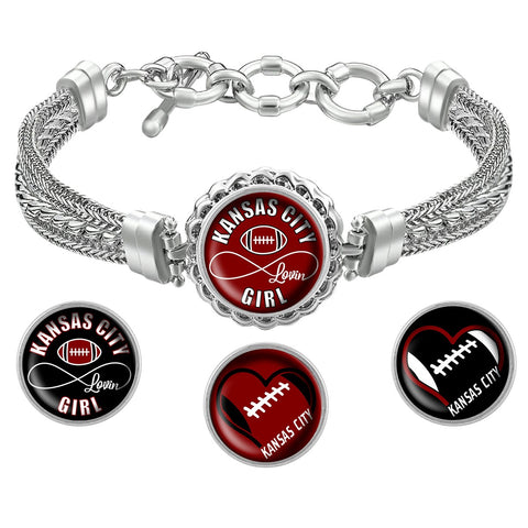 Kansas City Lovin Girl Football Bracelet with Interchangeable Snap Charms - Black