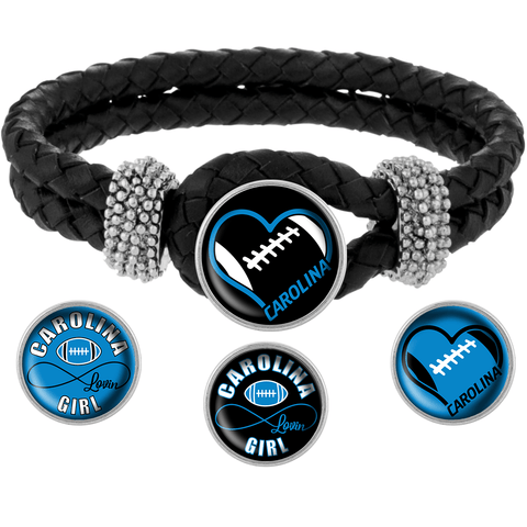 Snap Charm Interchangeable Jewelry Heart Carolina Football Metal Bracelet - Black