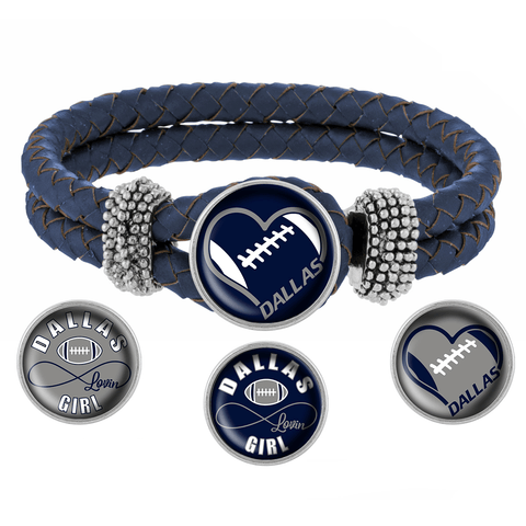 I Love Dallas Football Bracelet with Interchangeable Snap Charms - Gray