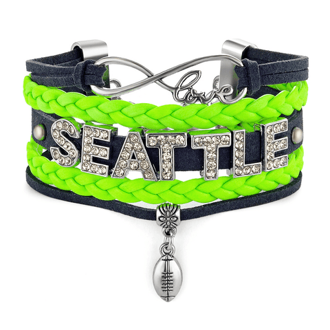 Seattle Lovin Girl Football Metal Bracelet with Interchangeable Snap Charms