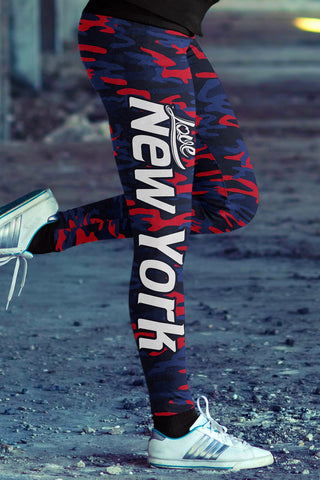 Love New York Football Leggings in Print All Over Striped Design