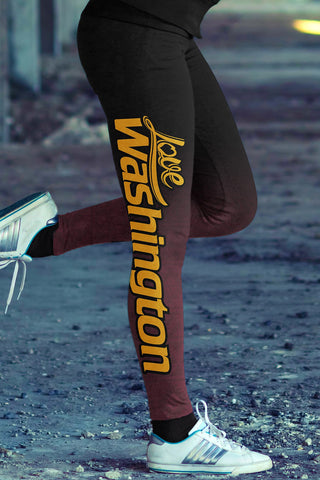 Love Washington Football Leggings in Print All Over Classic Design